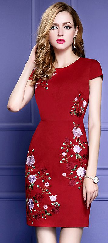 Vintage Embroidered Short Sleeve Bodycon Dress