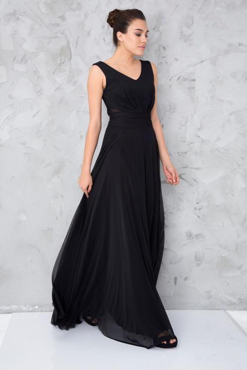 Siyah V Yaka Uzun Abiye Elbise - Fotoğraf