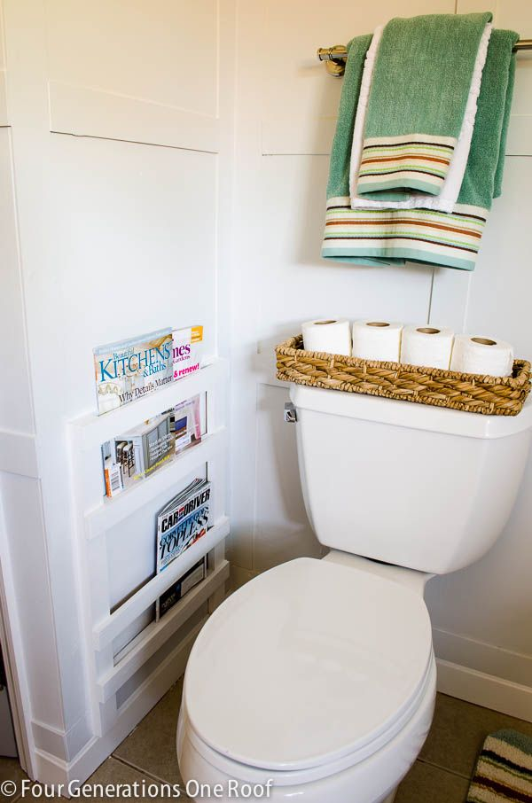 DIY bathroom magazine rack - this would be cute for the powder room