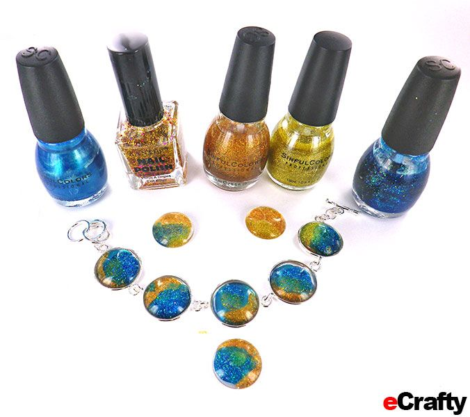 DIY Nail Polish Jewelry Faux Dichroic Technique tutorial from www.eCrafty.com #ecrafty CLICK for ILLUSTRATED TUTORIAL