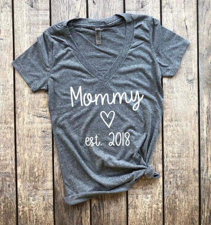 Mommy est. 2018 (V-Neck), mommy to be, pregnancy announcement, pregnancy reveal, baby announcement, does this shirt make me look pregnant, pregnancy shirt, maternity shirt, mama bear, mommy to be #pregnancyannouncementshirts,
