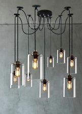 Industrial Edison 5 Head Glass Pendant Lamp Chandelier Ceiling Light Retro Lamp