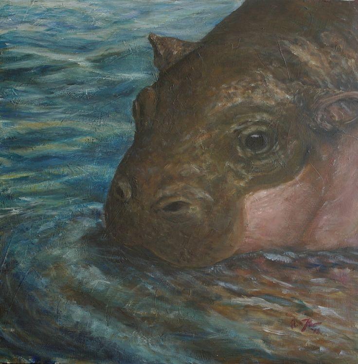 """Dvergflodhest, kalv"" (Pygmy Hippopotamus, calf) by Elin Johnsen. Akryl på lerret. 50x50cm. #hippo #acrylic #art #painting #wildlife #endangered"