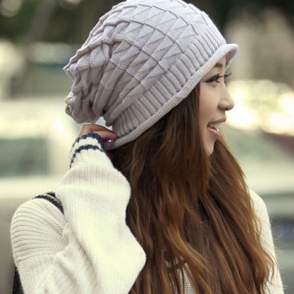 Stylish Knitting Geometric Pattern Beanie Hat For Women, OFF-WHITE in Hats | DressLily.com