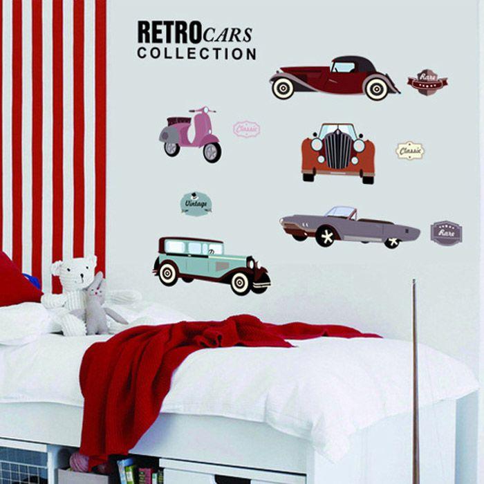Retro autók gyerekszoba falmatrica