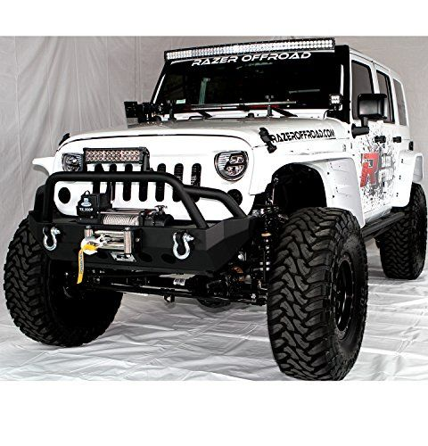 Razer Auto 07-16 Jeep Wrangler JK Black Textured Rock Crawler Stubby Front Bumper With 2x D-Ring & Winch Plate