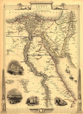 1851 map of Egypt with engravings of Cairo, Alexandria, Pyraminds and Sphinx...Arab ships shown sailing on RED sea.