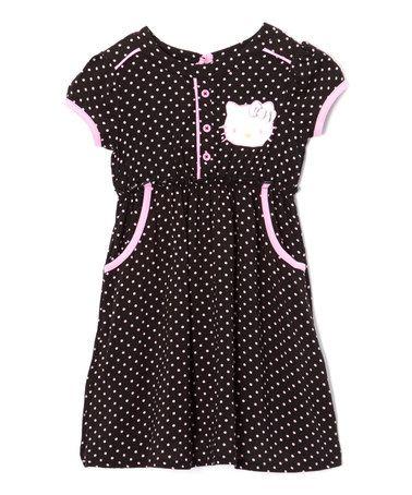 Look at this #zulilyfind! Black Polka Dot Hello Kitty Dress - Toddler & Girls #zulilyfinds