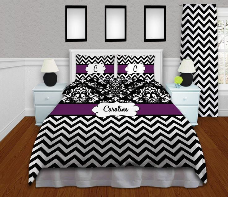 Purple Chevron Bedding, Damask Bedding, Personalized Duvet Cover, Twin XL Duvet, College Bedding, Dorm Bedding, ANY COLOR #56 by EloquentInnovations on Etsy https://www.etsy.com/listing/194600696/purple-chevron-bedding-damask-bedding