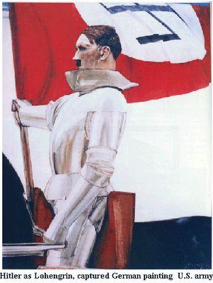 """""""El propio Hitler secundaría esta opinión, ya que en 1925 afirmó que """"la obra de Wagner engloba todo aquello a lo que aspira el Nacionalsocialismo [...] El día que sigue a la clausura del Festival de Bayreuth, y el martes que señala el final del congreso de Nuremberg, me invade una gran tristeza: como cuando uno despoja de sus adornos el árbol de Navidad"""". Rosa Sala Rose. Diccionario de mitos y símbolos del nazismo (pág. 410)"""