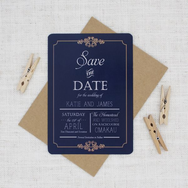 Navy blue and gold vintage save the dates