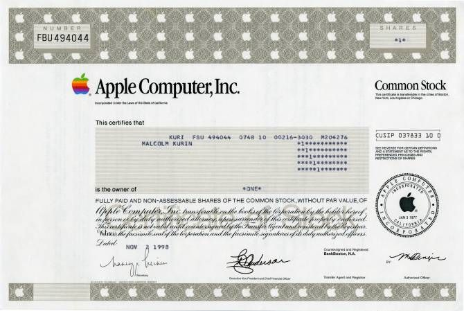 Apple Computer, Inc - Old Certificate Style (Maker of Apple - stock certificate template