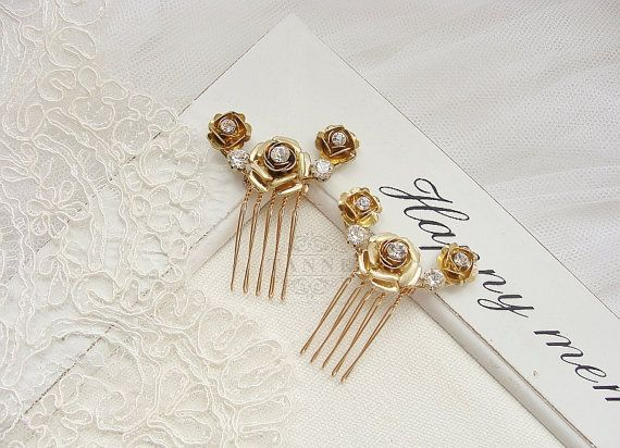Gold Flower Hair Comb Bridal Hair Comb Wedding Hair by TanneDesign