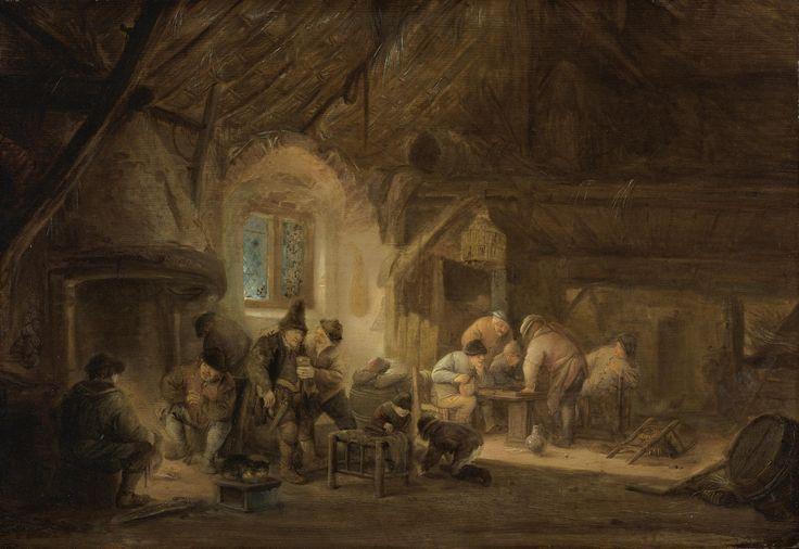 Isaac van Ostade - Rustiek interieur met drinkende en spel spelende boeren