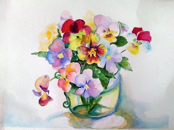 Download art print watercolor flowers still life Pansis