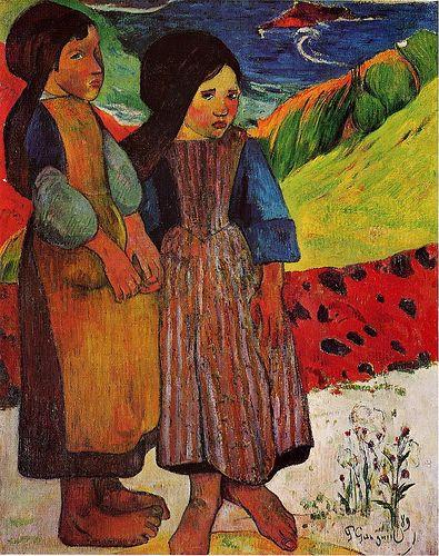 Paul Gauguin (French, 1847-1903), Breton Girls by the Sea - 1889: