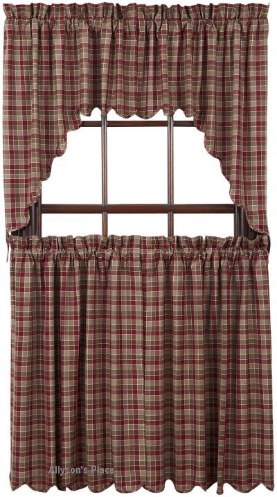 Lovely Everson Window Swag Or Tiers / Like Us On Facebook! Https://www. Primitive  CurtainsPrimitive CountryPrimitive ...