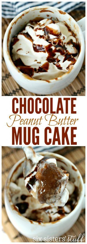 Single Serving Chocolate Peanut Butter Mug Cake recipe from SixSistersStuff.com   This is an easy to make dessert, made only in one portion so you can have a treat and then stick to your healthier eating habits!