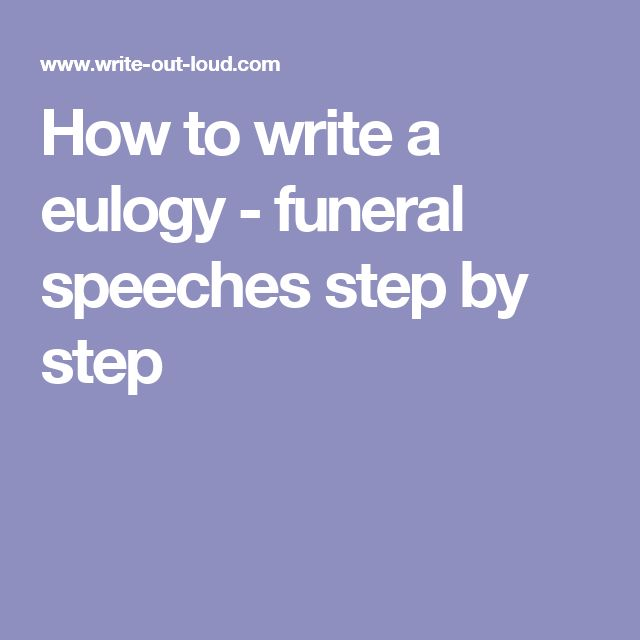how to write a good eulogy speech