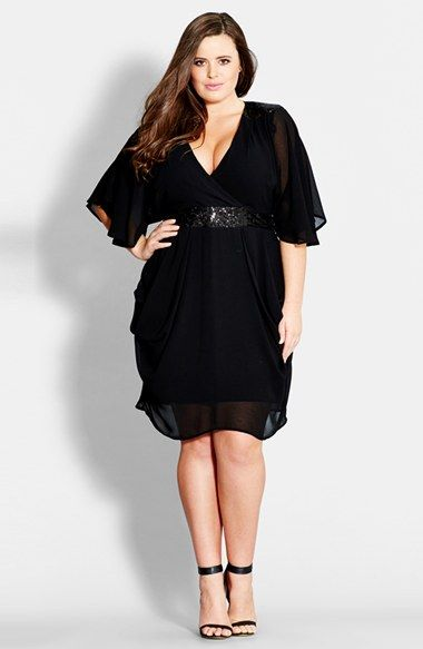 Sequin Wrap Front Dress (Plus Size) at Nordstrom.com. Sequin-coated panels add midnight shimmer to a sexy LBD fronted with a plunging V-neckline. Fluttery sheer sleeves and a wavy hemline add romantic drama, while lavish draping at the hips creates flattering dimension.