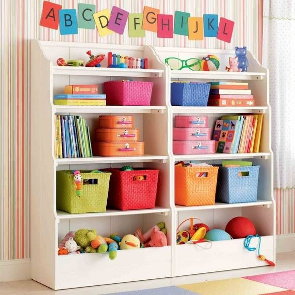 kids room decorating with shelves and bright room colors