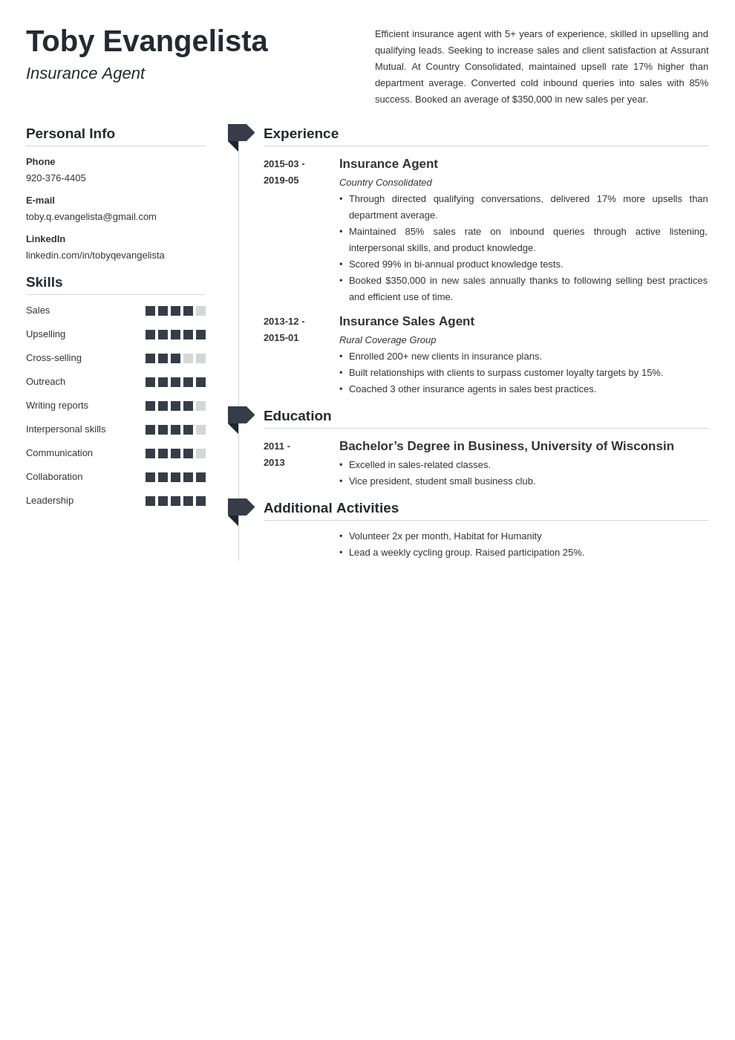 insurance agent resume example template muse in 2020 | Resume examples, Job resume examples, Resume