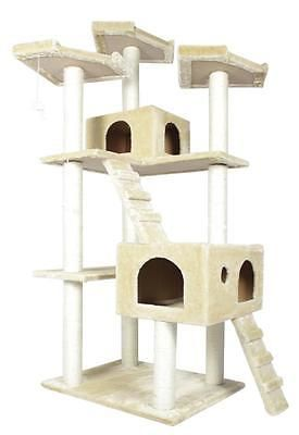 Animals Cats: 73 Cat Tree Condo Furniture Scratch Post Pet House Beige -> BUY IT NOW ONLY: $99.99 on eBay!