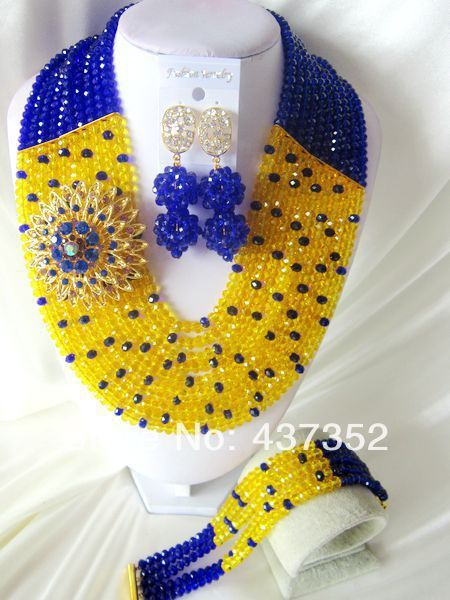 Fashion Royal Blue Yellow African Wedding Beads Jewelry Set Nigerian Beads Crystal Necklaces Bracelet Earrings CPS-2042 $68.32