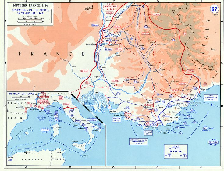 Map of Southern France during Operation Dragoon, 15-28 Aug 1944. (US Military Academy)