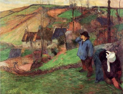 Landscape of Brittany - Paul Gauguin... Returning to France to recover. He brought a new appreciation for color from his time in Matinique.