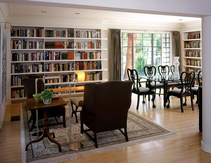 A dedicated reading zone in the large dining room adds to the appeal of the library setting