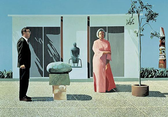 Artist: David Hockney Title: American Collectors (Fred & Marcia Weisman)