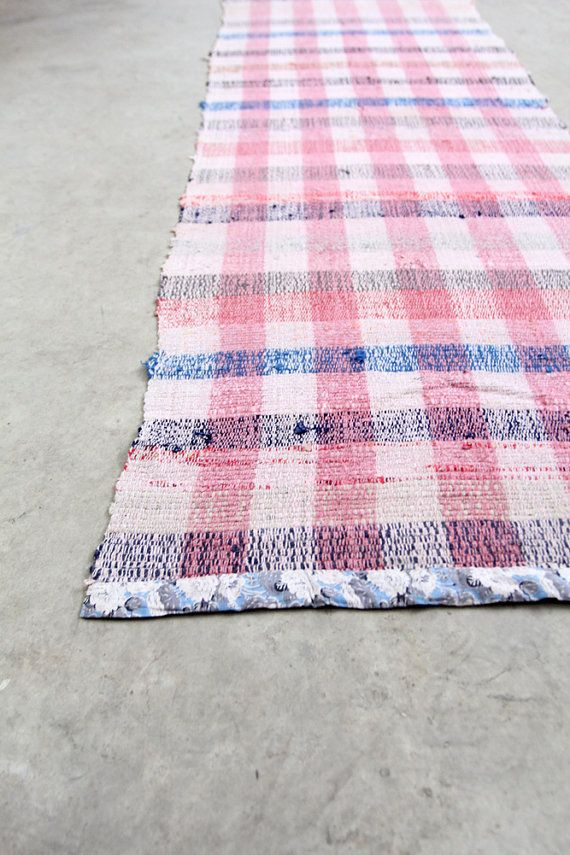 Vintage Rag Rug // Scandinavian Floor Runner // 8 ft by 86home, $573.75
