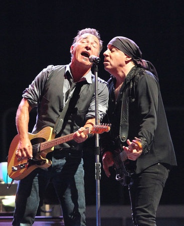 """Bruce Springsteen and the E Street Band perform """"Prove It All Night"""" at at Citizen's Bank Park. This was his second night of performing there on Sept. 3, 2012. Springsteen sings with Steven Van Zandt. (Charles Fox / Staff Photographer): Springsteen Singing, Banks Parks, Music Genius, Second Night, Citizen Banks, Bruce Springsteen, Performing Prove, Charles Foxes, Band Performing"""