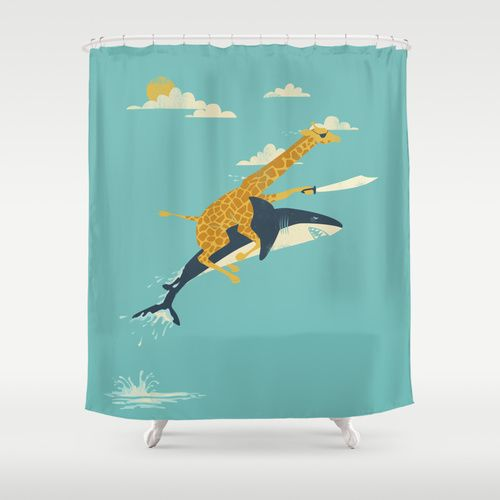 Turquoise Shower Curtain U003eu003e Team Shark And Giraffe :) U003eu003e Pure