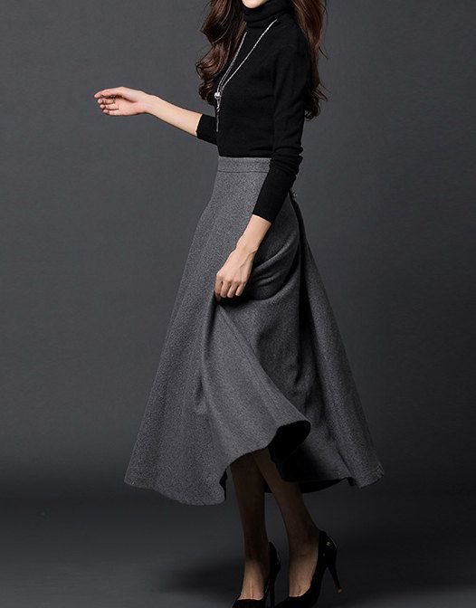 Gray woman long winter wool dress plus size woolen dress wool skirt winter maxi skirt - S M L XL XXL