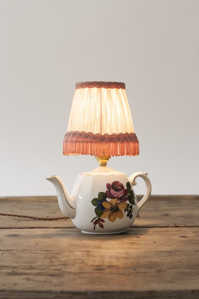how to make a table lamp, teapot light