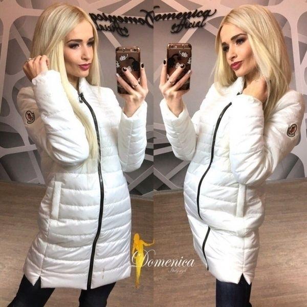 Удлиненная весенняя Куртка Монклер белая