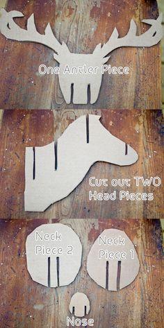 Cabeza de ciervo, taxidermia de cartón   -  cardboard taxidermy deer head                                                                                                                                                                                 Más