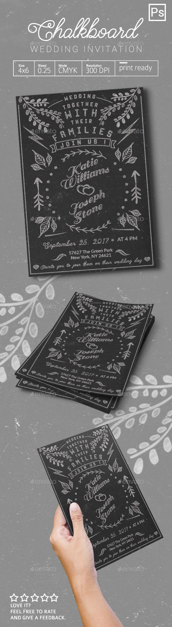 Chalkboard Wedding Invitation - Weddings Cards & Invites