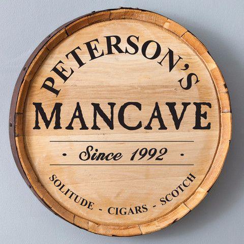 Mancave - Personalized Whiskey Barrel Sign | Driftwood Market  https://driftwoodmarket.net/collections/gifts-for-him/products/mancave-personalized-whiskey-barrel-sign-driftwood-market