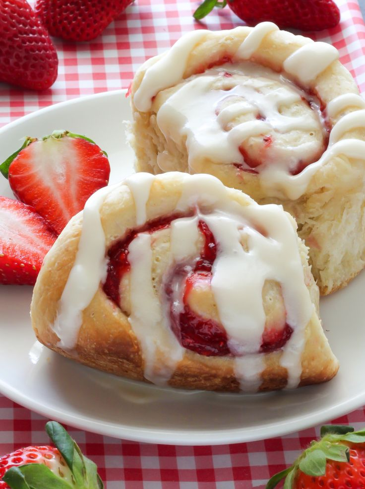 Strawberry Rolls with Vanilla Glaze - the lightest, fluffiest rolls we've ever had!