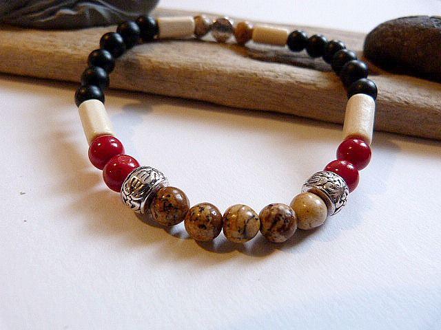 Bracelet homme ou mixte en onyx, quartz et jaspe bois, style ethnique : Bracelet par un-amour-de-perles-bijoux