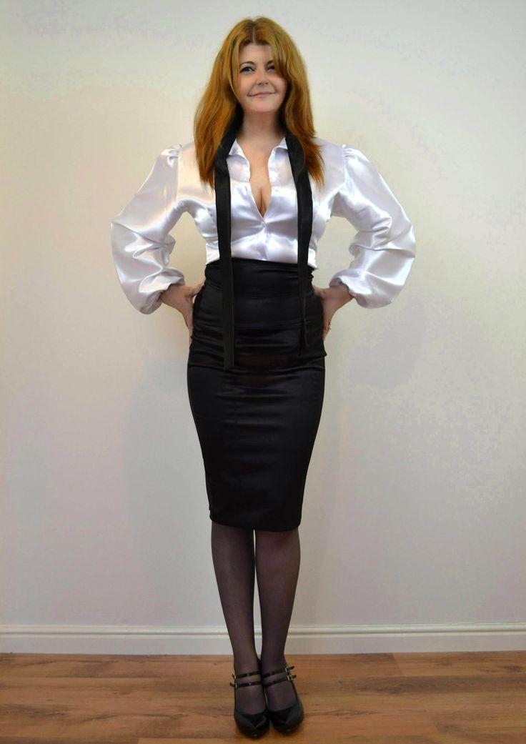 white satin blouse and black pencil skirt albus