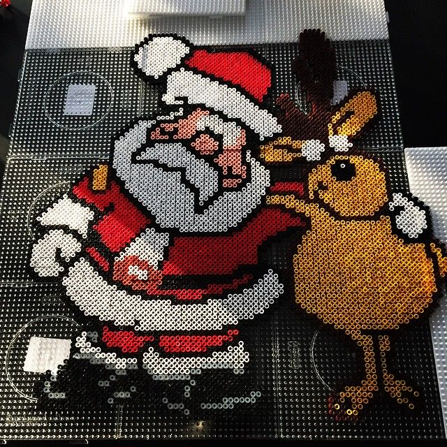 Santa Claus and a Reindeer - Christmas hama perler beads by Dorthe aaskoven