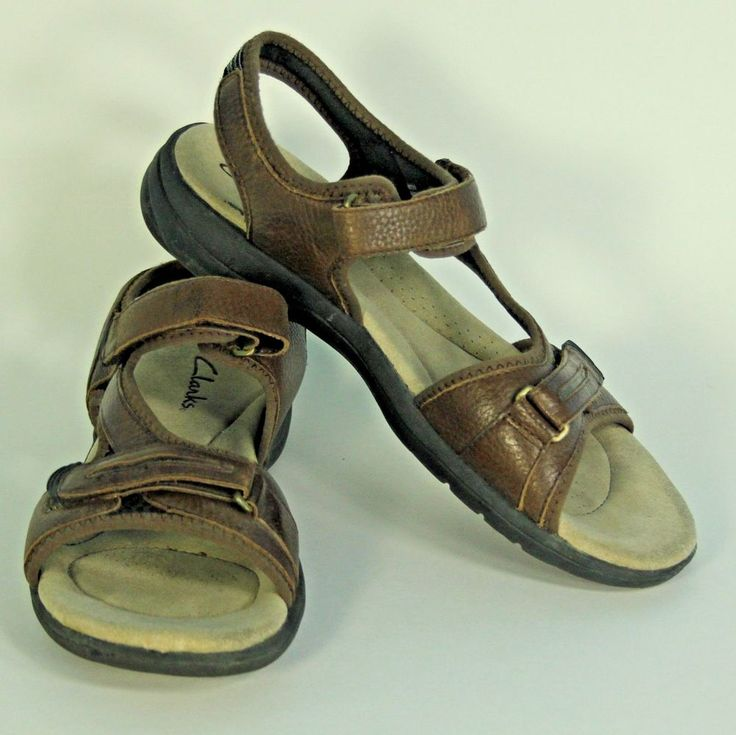 Clarks Rise Brown Leather Sport Walking Comfort Sandas Velcro Strap Womens 9.5 M…