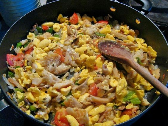 Jamaican ackee and salted fish dishes. Great with dumplings, boiled green banana and yellow yam. #JamaicaScene