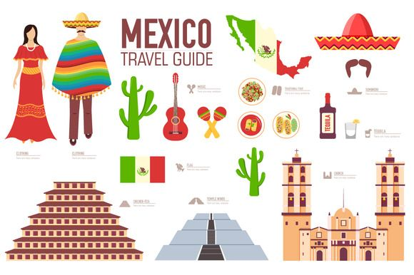 Mexico country flat vector icons set by Sir.Enity on @creativemarket