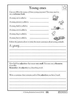 What's a baby cat called? In this language arts worksheet, your child does some basic research to find and write the names of baby animals, then uses a thesaurus to find adjectives that mean very small.