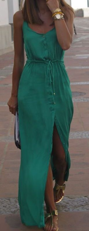 #summer #outfits / green button down maxi dress